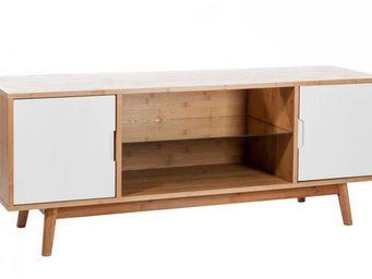 WHITE LABEL - meuble tv marbella laqué blanc. - Meuble Tv Hi Fi