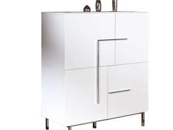 WHITE LABEL - buffet bas design deltino blanc 4 portes et piétem - Buffet Bas