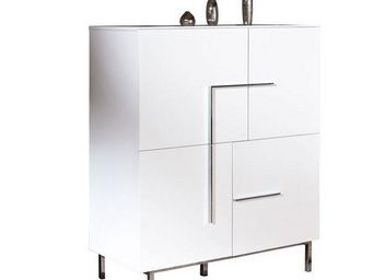WHITE LABEL - buffet bas design deltino blanc 4 portes et piétem - Buffet Bas