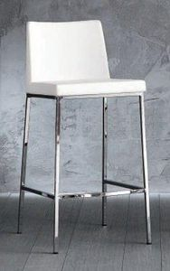 WHITE LABEL - tabouret de bar erik en cuir �co blanc, pi�tement  - Chaise Haute De Bar