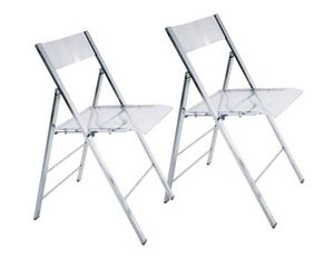 WHITE LABEL - lot de 2 chaises pliantes seal transparentes et ch - Chaise Pliante