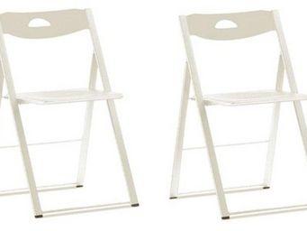 Domitalia - lot de 2 chaises pliantes icon blanche. - Chaise Pliante