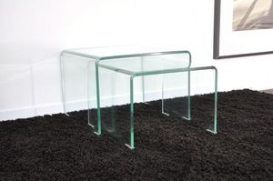 WHITE LABEL - wave gigogne transparente 2 tables verre design - Tables Gigognes