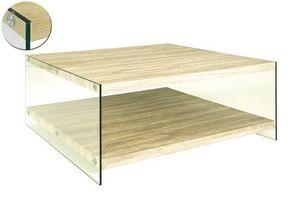 WHITE LABEL - table basse nina en verre et chêne clair - Table Basse Carrée