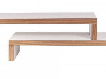 TemaHome - cliff 120 meuble tv modulable laque blanc plywood  - Meuble Tv Hi Fi