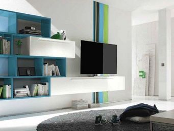 WHITE LABEL - meuble tv design primera shelf blanc brillant et b - Meuble Tv Hi Fi