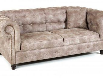 WHITE LABEL - canap� fixe 3 places oxford chesterfield beige cen - Canap� Chesterfield