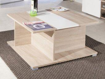 WHITE LABEL - woody table basse en ch�ne avec rangements, platea - Table Basse Carr�e