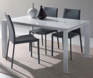 WHITE LABEL - table repas extensible sliver en verre blanc, 140  - Table De Repas Rectangulaire