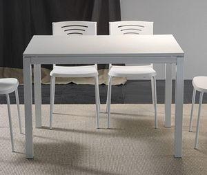 WHITE LABEL - table repas extensible majestic 130 x 80 cm blanch - Table De Repas Rectangulaire