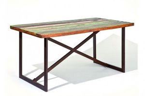 WHITE LABEL - table repas unique colori en bois de manguier recy - Table De Repas Rectangulaire