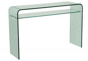 WHITE LABEL - console fixe wave en verre trempé transparent 2 pl - Console
