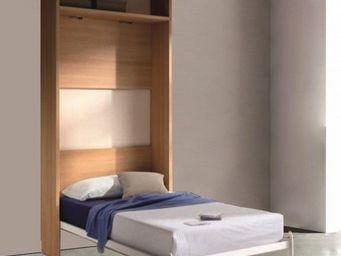 WHITE LABEL - armoire lit escamotable atlas, cerisier. couchage  - Lit Escamotable