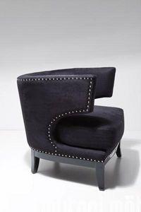 WHITE LABEL - fauteuil prince velours noir - Fauteuil