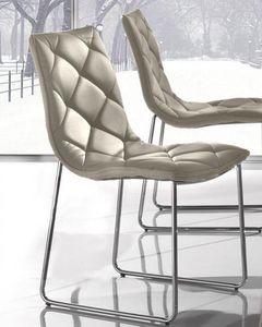 WHITE LABEL - lot de 2 chaises giada en simili cuir taupe piétem - Chaise