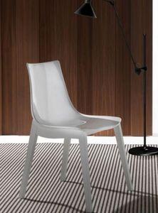 WHITE LABEL - chaise design orbital wood plexiglas blanc et hêtr - Chaise