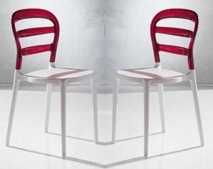 WHITE LABEL - lot de 2 chaises design dejavu en plexiglas rouge  - Chaise