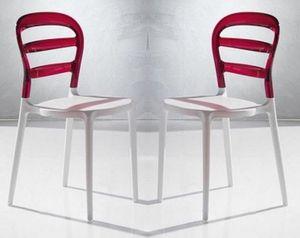 WHITE LABEL - lot de 2 chaises design dejavu en plexiglas rouge  - Chaise
