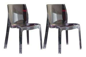 WHITE LABEL - lot de 2 chaises falena empilables en plexiglas tr - Chaise