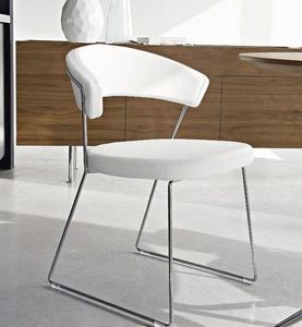 Calligaris - chaise design new york en cuir blanc de calligari - Chaise
