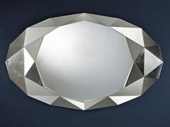 WHITE LABEL - saphir miroir mural design en verre couleur argent - Miroir