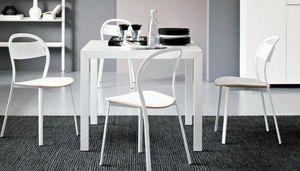 Calligaris - table repas extensible key 90x89 en verre blanc de - Table Bureau