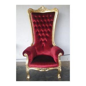 DECO PRIVE - trône baroque velours rouge théâtre doré h 180 - Fauteuil