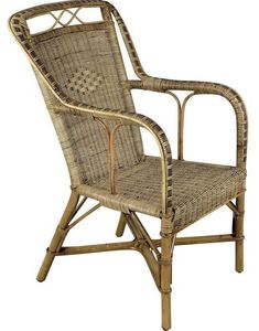 Aubry-Gaspard - fauteuil haut en manau et rotin - Fauteuil De Jardin