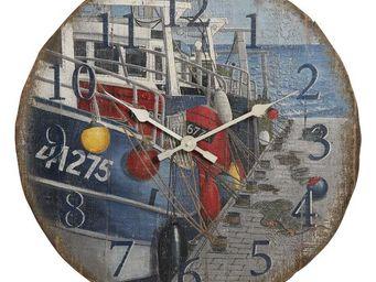 Interior's - horloge bateaux à quai - Horloge Murale