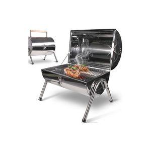 WHITE LABEL - barbecue charbon avec thermomètre s - Barbecue Au Charbon