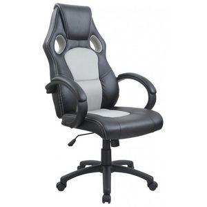 WHITE LABEL - fauteuil de bureau sport cuir gris - Fauteuil De Bureau