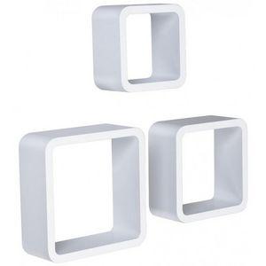 WHITE LABEL - étagère murale x3 cube design blanc - Etagère