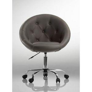 WHITE LABEL - fauteuil lounge pivotant cuir noir - Fauteuil Rotatif