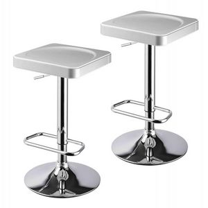 WHITE LABEL - lot de 2 tabourets de bar blanc et argent - Tabouret De Bar