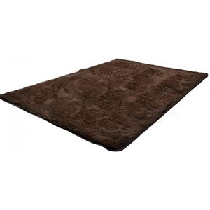 WHITE LABEL - tapis salon marron poil long taille l - Tapis Contemporain
