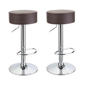 WHITE LABEL - lot de 2 tabourets de bar marron - Tabouret De Bar