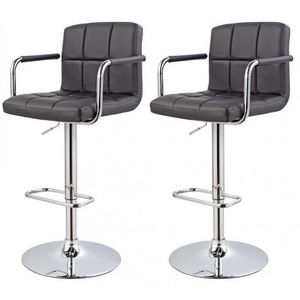 WHITE LABEL - lot de 2 tabourets de bar noir - Chaise Haute De Bar