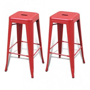 WHITE LABEL - lot de 2 tabourets de bar factory rouge - Tabouret De Bar