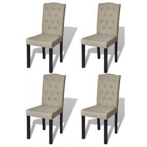 WHITE LABEL - 4 chaises de salle a manger beiges - Chaise
