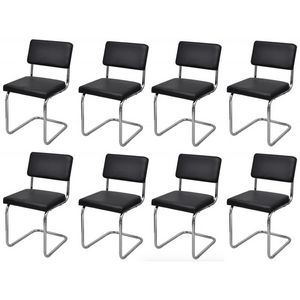 WHITE LABEL - 8 chaises de salle a manger blanches - Chaise