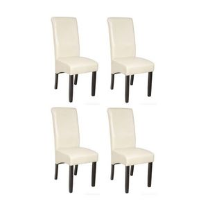 WHITE LABEL - 4 chaises de salle à manger crème - Chaise