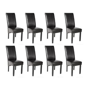 WHITE LABEL - 8 chaises de salle à manger noir - Chaise