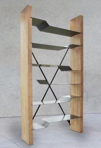 Mathi Design - bibliotheque bois et acier - Bibliothèque
