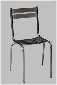 Mathi Design - chaise acier brosse pritty - Chaise