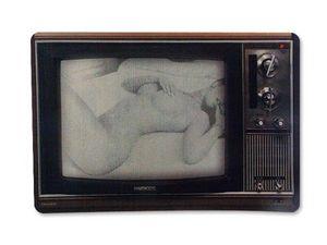 WHITE LABEL - tapis informatique tv écran noir et blanc avec fem - Tapis De Souris
