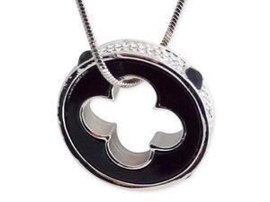 WHITE LABEL - collier 80 cm pendentif anneau noir et strass perf - Collier