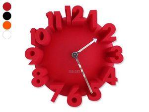 WHITE LABEL - horloge grands chiffres effet 3d blanc deco maison - Horloge Murale