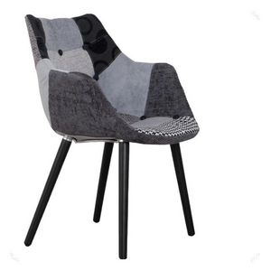 Mathi Design - chaise patchwork gris et noir - Chaise