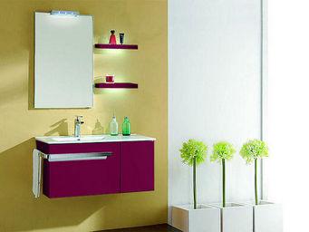 UsiRama.com - meuble salle de bain blanc barcelone violet 90cm - Meuble Vasque