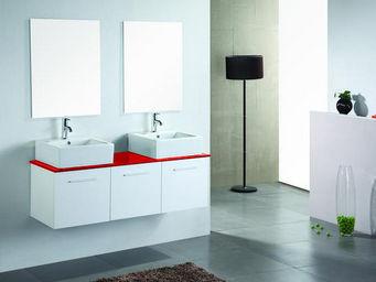 UsiRama.com - meuble 2 vasques cublanc laqu� rouge blanc 1.4m - Meuble Double Vasque